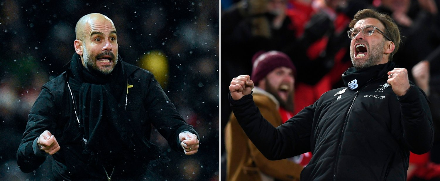 A combination of pictures created in London on April 2, 2018 shows Manchester City's Spanish manager Pep Guardiola celebrating Liverpool's Egyptian midfielder Mohamed Salah scoring the team's second goal during the English Premier League football match between Liverpool and Tottenham Hotspur at Anfield in Liverpool, north west England on February 4, 2018. Jurgen Klopp has no qualms about saluting Pep Guardiola's ability to create