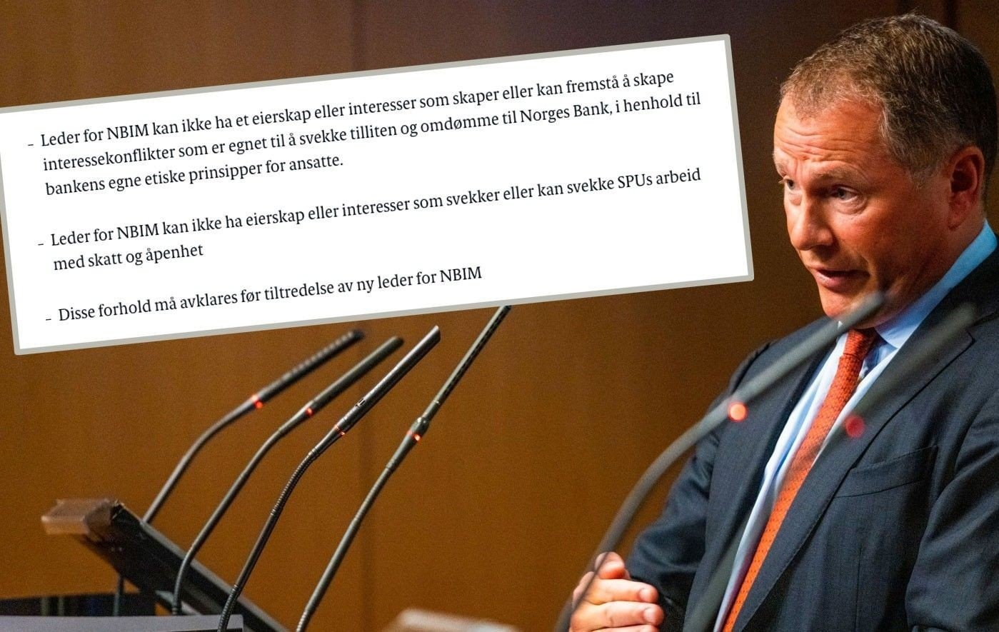 Bilde av Nicolai Tangen og konklusjonen til finanskomiteen på Stortinget.