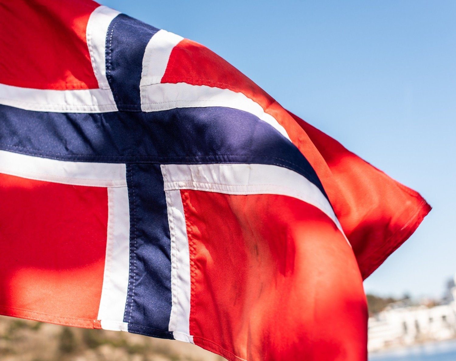 Flag of Norway waving in the wind Flag of Norway waving in the wind