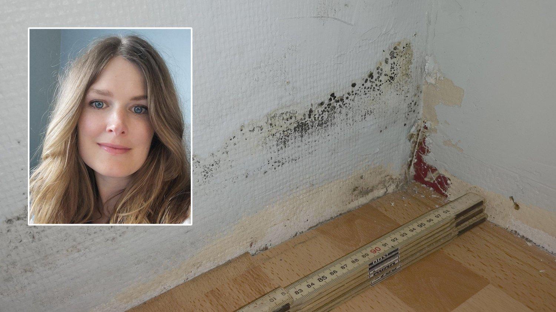 AVVISTE SKADE: Skaden Hanna Hermstad oppdaget bak et klesskap førte til en erstatning fra selger på 250.000 kroner og full drenering av det nyinnkjøpte huset.