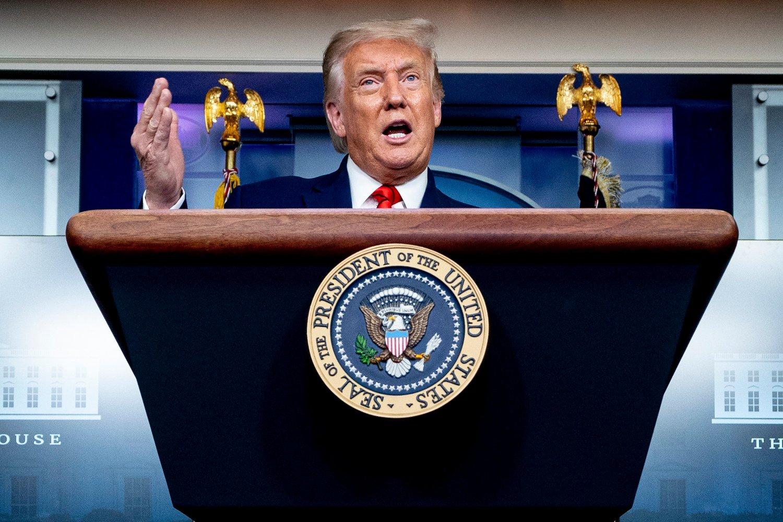 USAs president Donald Trump på talerstolen i Washington.