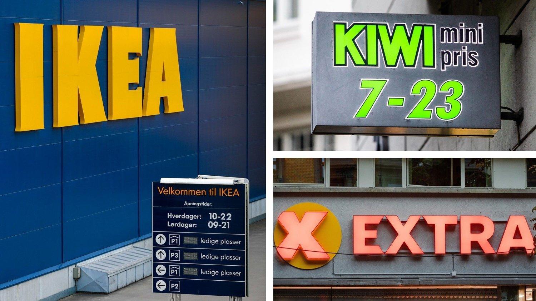 KAN BLI STREIK: Ikea, Kiwi og Extra er blant butikkene som vil rammes av en eventuell streik fra lørdag.