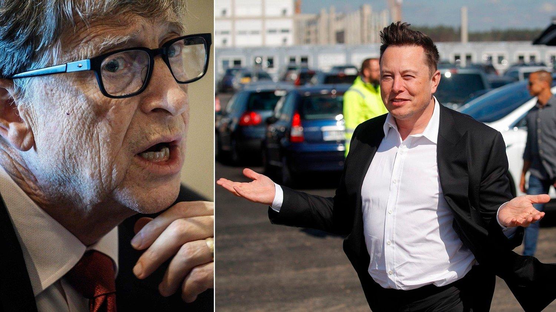 To av verdens rikeste, Elon Musk og Bill Gates, har ikke samme syn på fremtiden til elektriske kjøretøy.