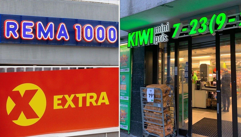 Kiwi, Rema 1000 og Coop Extra.