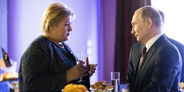 Erna Solberg og Vladimir Putin.