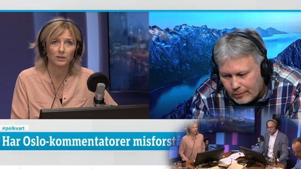 Skjermdump fra NRK - med Skjalg Fjellheim og Frithjof Jacobsen.
