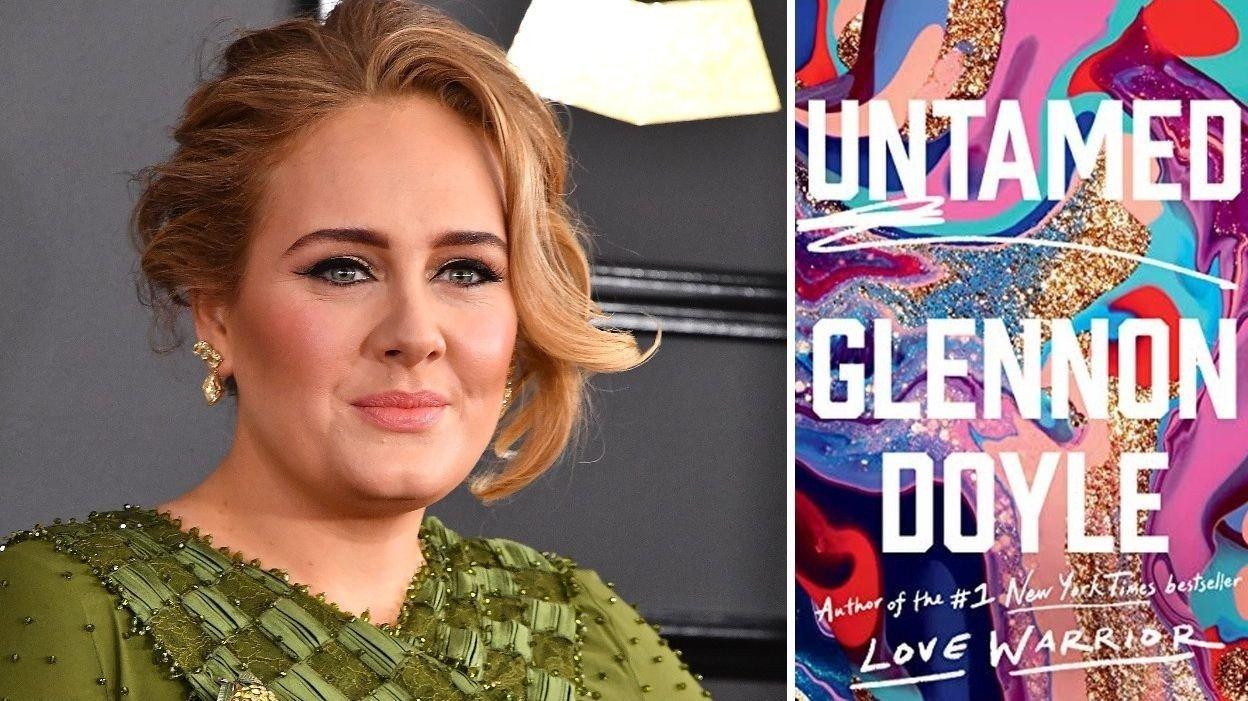 Portrett av Adele og forsiden av boken Untamed