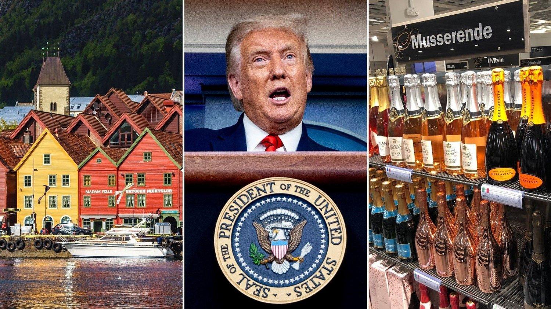 Bryggen i Bergen, Donald Trump og vinhyller på Vinmonopolet.