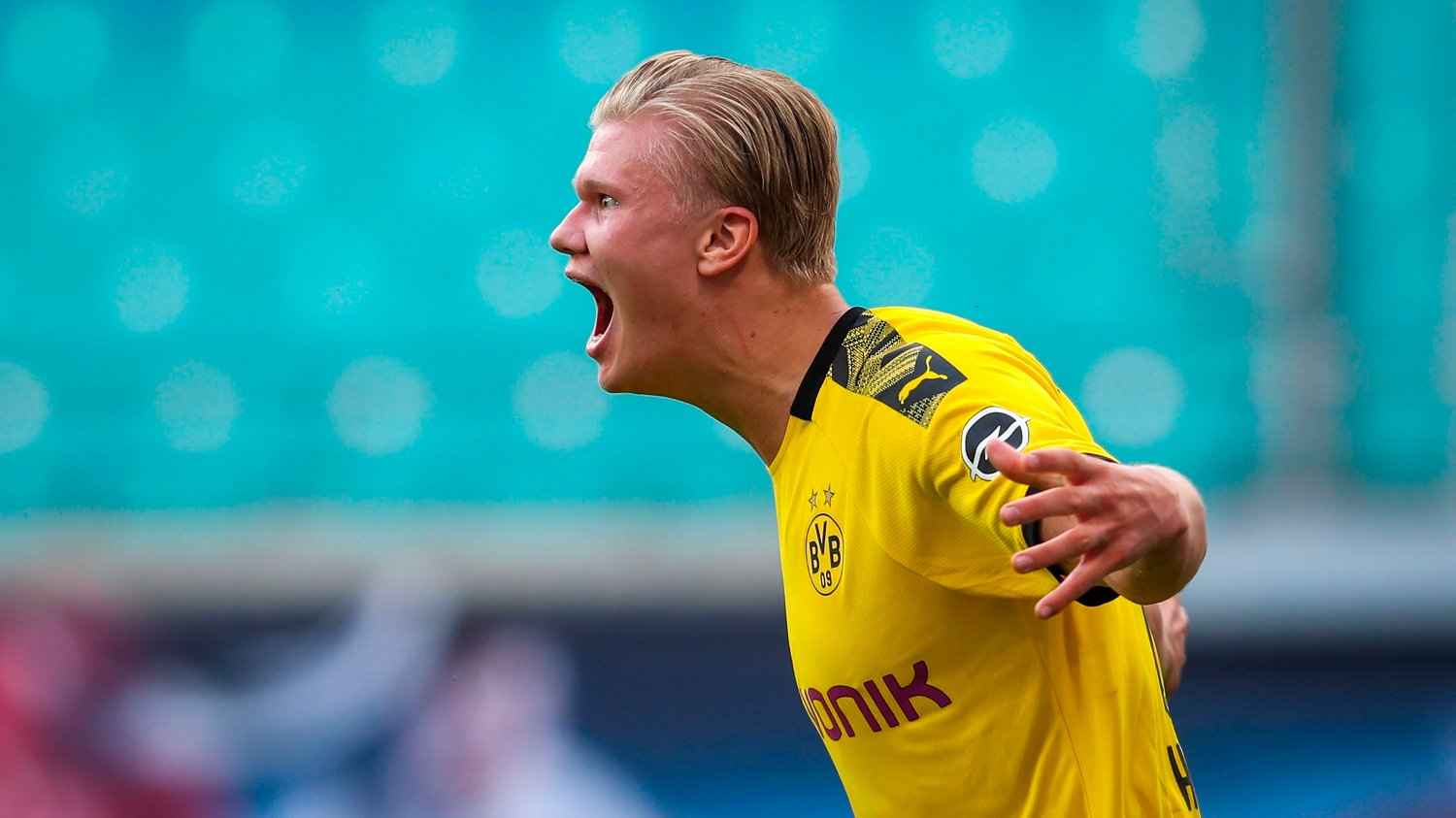 Dortmund's Norwegian forward Erling Braut Haaland / DFL REGULATIONS PROHIBIT ANY USE OF PHOTOGRAPHS AS IMAGE SEQUENCES AND/OR QUASI-VIDEO