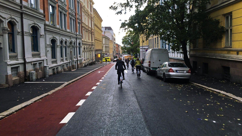 Sykkelfelt i Huitfeldts gate
