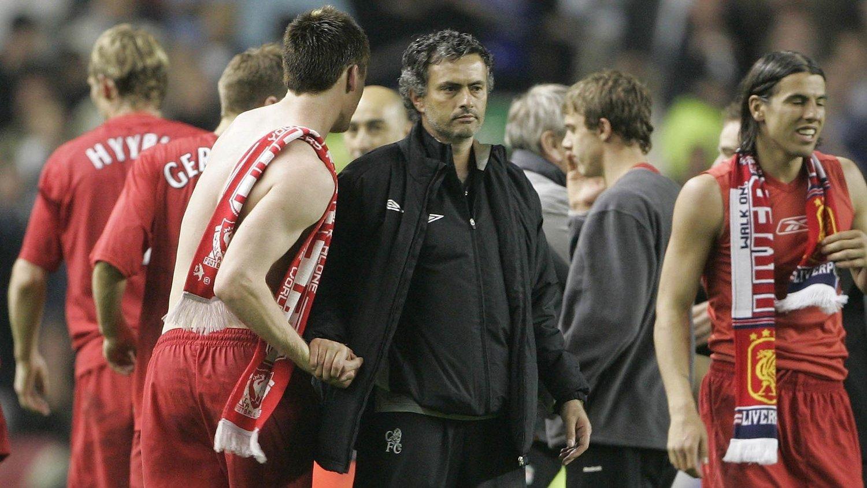 SLAGEN MANN: Jose Mourinho var en slagen mann etter semifinaletapet for Liverpool i 2005.