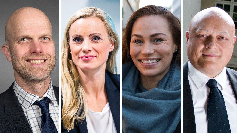 EKSPERTER: Hallgeir Kvadsheim, Silje Sandmæl i Dnb, Cecilie Tvetenstrand i Danske Bank og Jorge Jensen i Forbrukerrådet forteller hvordan statsbudsjettet vil påvirke din økonomi.
