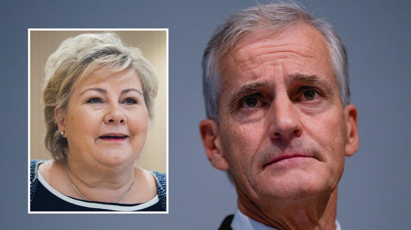 Statsminister Erna Solberg innfelt i bilde av Jonas Gahr Støre