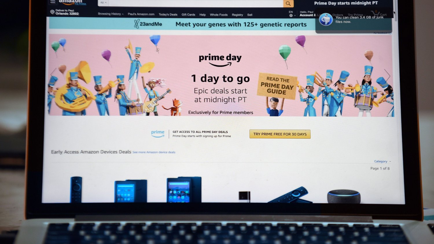 Amazon Prime Day The Amazon website is seen on a computer screen on July 14, 2019 in Orlando, Florida. On July 15 and 16, 2019, Amazon holds its annual Amazon Prime Day, a 48-hour event during which Prime members can shop online for hundreds of thousands of specially discounted items.