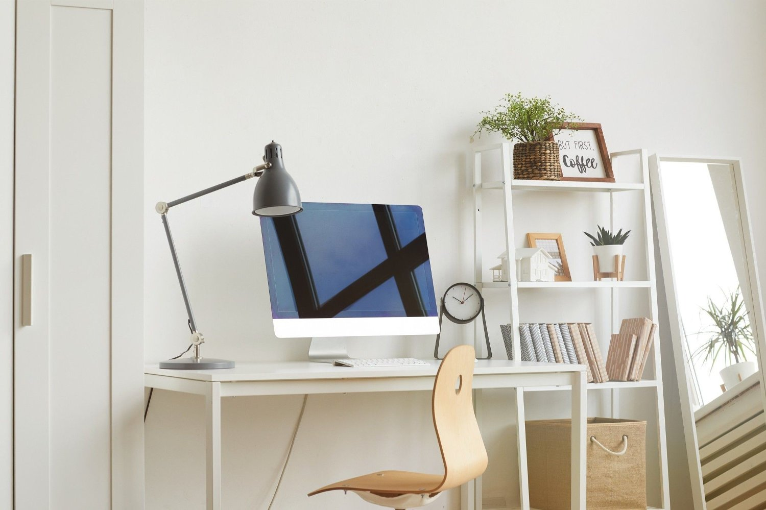 Minimal Design Ideas for Home Office White Background image of empty home office workplace with wooden chair and modern computer on white desk, copy space