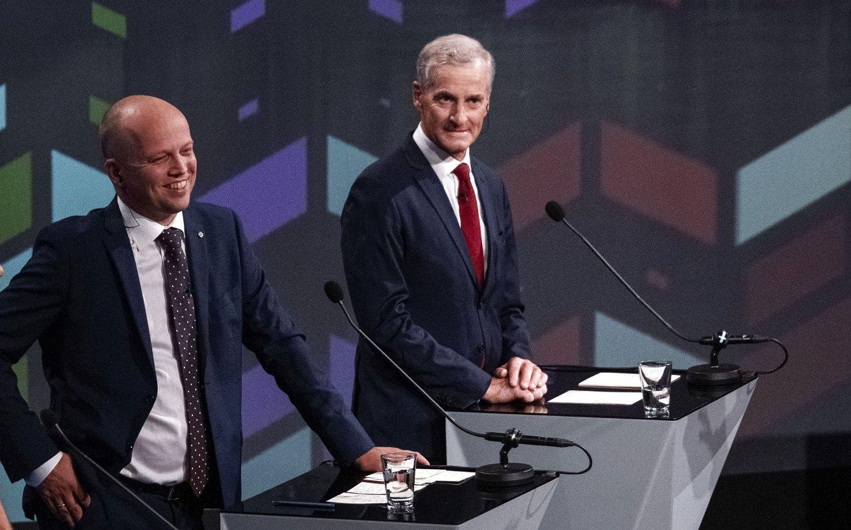 HVEM SMILER MEST? Senterpartiets Trygve Slagsvold Vedum kan allerede være større enn Arbeiderpartiets statsministerkandidat, Jonas Gahr Støre.