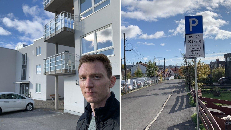 NULL PLASS: Blokka Øyvind Eidem bor i, på Bjerke, har noen få gjesteparkeringsplasser beboerne ikke kan bruke. Gata rett ved, Solvollveien, er full av ubrukte beboerparkeringsplasser han ikke kan søke om.