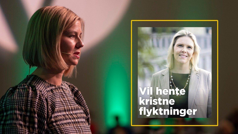UTSPILL: Fremskrittspartiets Sylvi Listhaug vil prioritere kristne flyktniger, mens Venstres kunnskapsminister Guri Melby holder en knapp på homofile flyktninger.