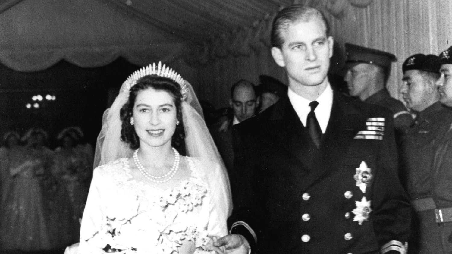 Princess Beatrice wedding File photo dated 20/11/1947 of Queen Elizabeth II alongside the Duke of Edinburgh as they leave Westminster Abbey after their marriage ceremony. The Queen is wearing the same tiara that was worn by Princess Beatrice at her wedding to Edoardo Mapelli Mozzi on Friday.