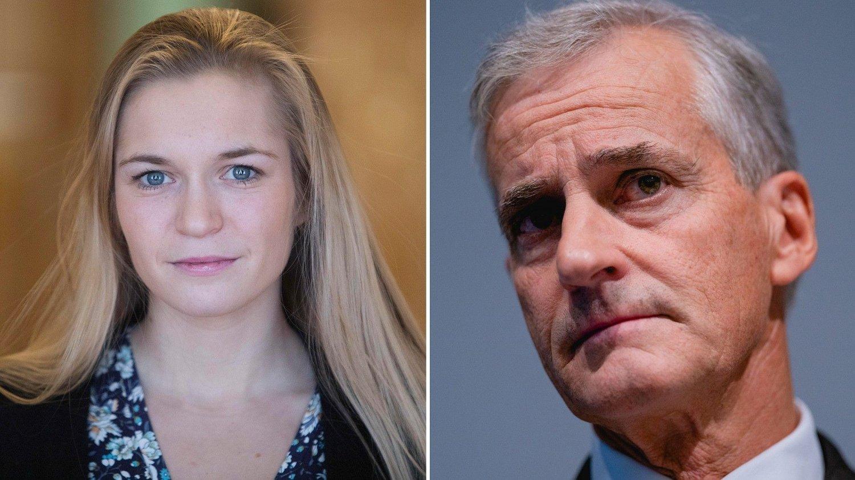 Politikerne Mathilde Tybring-Gjedde (Høyre) og Jonas Gahr Støre (Arbeiderpartiet).