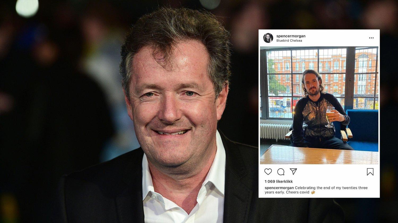 RASER: Piers Morgans sønn (innfeldt) er svært kritisk til de nye koronarestriksjonene i London. Det får faren til å se rødt.