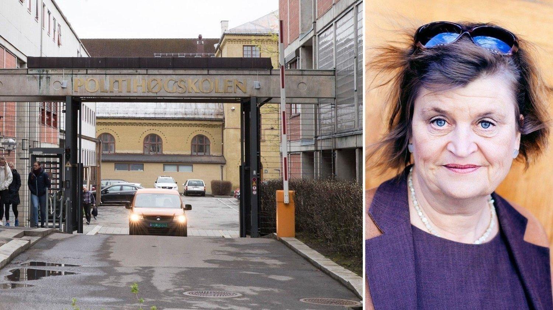 Et todelt bildemontasje. Politihøgskolen på Majorstua i Oslo og et protrettbilde av Elin Ørjasæter.