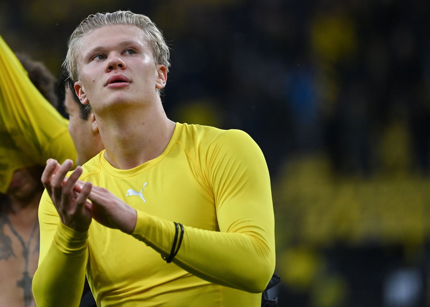 Dortmund's Norwegian forward Erling Braut Haaland celebrates after the German first division Bundesliga football match Borussia Dortmund vs SC Freiburg in Dortmund, on October 3, 2020. / DFL REGULATIONS PROHIBIT ANY USE OF PHOTOGRAPHS AS IMAGE SEQUENCES AND/OR QUASI-VIDEO