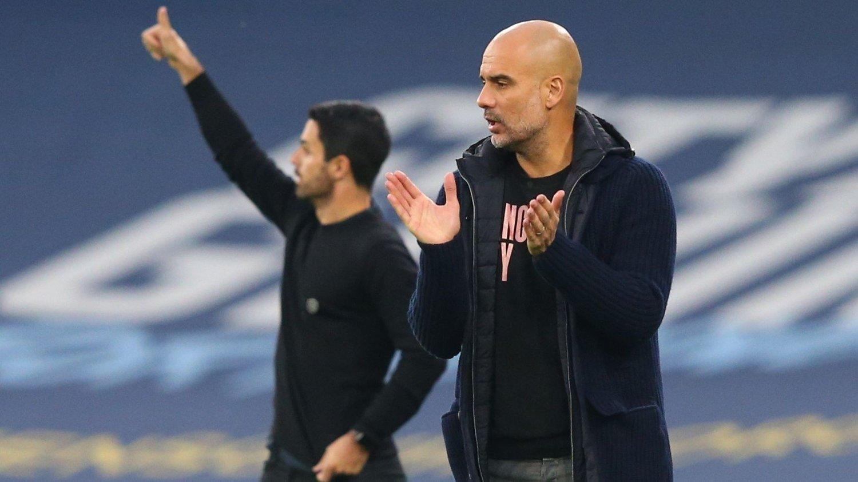 MANAGER-DUELL: Mikel Arteta og Pep Guardiola var svært aktive på sidelinjen under lørdagens kamp.