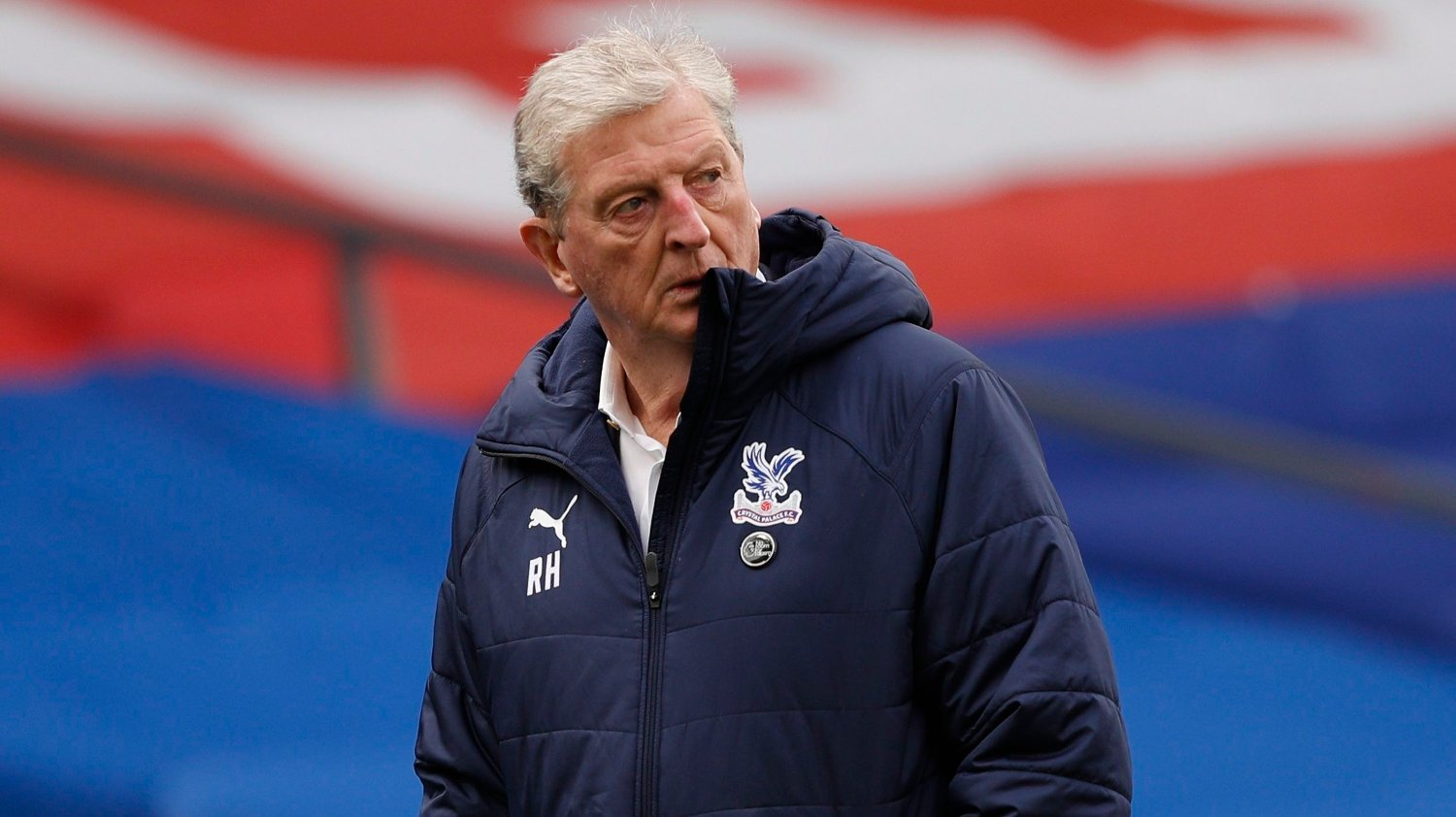 Crystal Palace's manager Roy Hodgson looks around as the half time whistle goes during an English Premier League soccer match between Crystal Palace and Brighton at the Selhurst Park stadium in London, England, Sunday Oct. 18, 2020.
