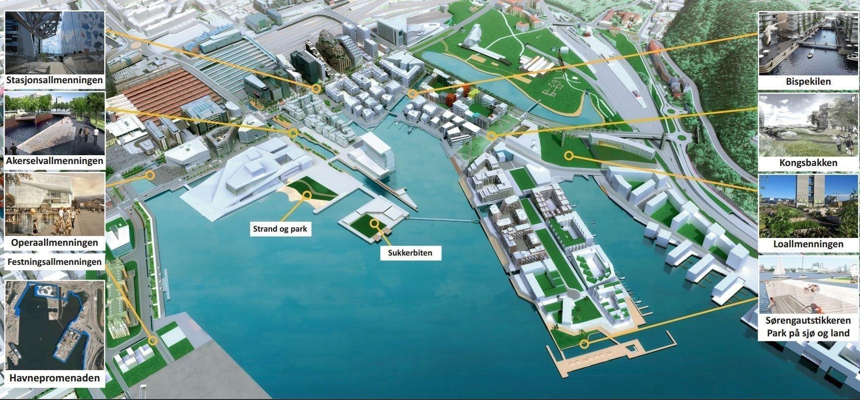8545a0b7 Slik skal det se ut i Bjørvika når utbyggingen er ferdig. Sjøbadet ligger  på Sørenga, nederst til høyre i bildet. Foto: Bjørvika Utvikling/Vianova