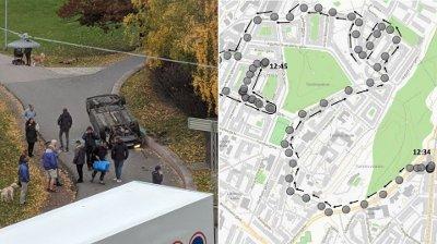 KJØRTE AV VEIEN: - Det var like etter klokka 12.30 tirsdag 22. oktober at politiet fikk melding om en trafikkulykke ved Rosenhoff i Oslo, der en bil hadde havnet på taket på gang- og sykkelveien noen hundre meter nedenfor Sinsenkrysset. Like etterpå ble en ambulanse som kom til stedet kapret.