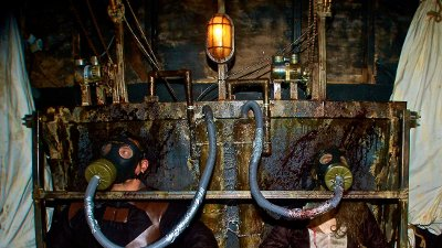 PIC BY RUSS MCKAMEY/ CATERS NEWS - - These are the terrifying images of what is believed to be the worlds most exclusive haunted house - which has a waiting list of more than 24,000 PEOPLE. The McKamey Manor, in San Diego, California, can only accommodate two visitors at a time, with applicants having to be background checked by the founder, Russ McKamey, first. NO-ONE has ever complete the haunt in its entirety - even a marine and adrenaline junkie did not make it through. Truly interactive, the experience has been described as a real-life horror movie: visitors travel between four locations; the entire experience is filmed; spectators can watch on global webcams; and the entire haunt can last between four and eight hours. Due to its cinematic nature, no two visits are ever the same. SEE CATERS COPY.