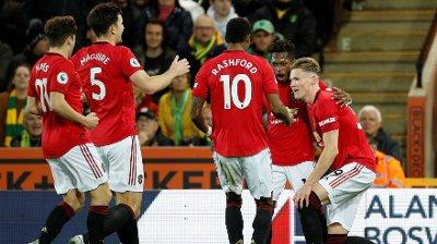 Bilde av Manchester United-spillerne Daniel James, Harry Maguire, Marcus Rashford, Fred og Scott McTominay.