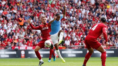 FA Community Shield - Manchester City v Liverpool Soccer Football - FA Community Shield - Manchester City v Liverpool - Wembley Stadium, London, Britain - August 4, 2019 Manchester City's Raheem Sterling scores their first goal REUTERS/David Klein