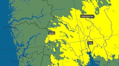 Bor du innenfor det gule området? Da bør du belage deg på mer enn fem centimeter snø på torsdag.