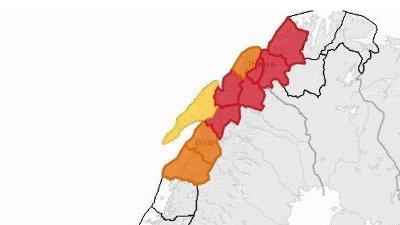 Kartet på Varsom.no viser rødt farevarsel for snøskredfare i flere områder i Finnmark, Troms og Nordland.