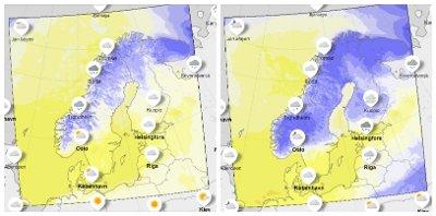 KALDERE: Det ventes fallende temperaturer fra nord til sør inn mot helga. Blå farge viser kuldegrader fra torsdag til lørdag .