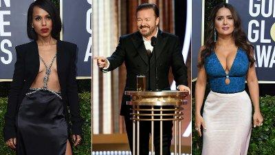 Ricky Gervais fikk publikum til å hyle av latter under nattens Golden Globe. Se hans åpningstale nede i saken. Kerry Washington (42) får masse oppmerksomhet etter at hun stilte i dette utfordrende antrekket under Golden Globe Awards. Det gjør også Salma Hayek.
