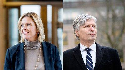 Oljeminister Sylvi Listhaug og klimaminister Ola Elvestuen ser hver sin vei.