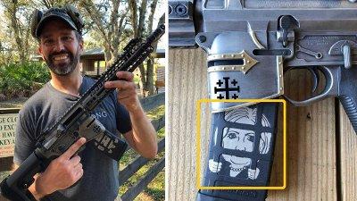 Donald Trump jr.med et våpen, AR-15, med bilde av Hillary Clinton.