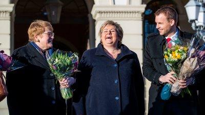 Oslo 20200124. F.v.: kunnskaps- og integreringsminister Trine Skei Grande på slottsplassen etter endringene i regjeringen fredag.