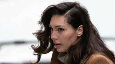 Dette bildet av vitnet Jessica Mann er tatt når hun ankommer Manhattan Criminal Court for å vitne mot Harvey Weinstein i New York 4. februar i år.