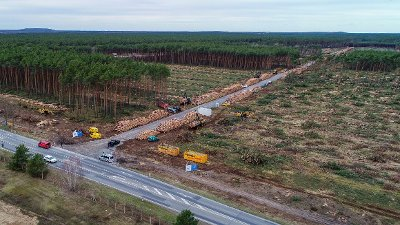 General view of the already partly cleared forest area on the future site oft he planned Tesla factory near Gruenheide, Germany, Monday, Feb. 17, 2020. The Higher Administrative Court for Berlin-Brandenburg ordered Tesla to stop clearing trees on the wooded site near Berlin until it considers an environmental group's appeal. In a statement Sunday, the court said it had to issue the injunction because otherwise Tesla might have completed the work over the next three days.