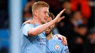 HERJET: Kevin De Bruyne scoret og serverte en målgivende pasning da Manchester City slo West Ham 2-0 onsdag.