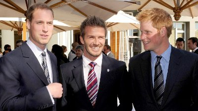 England team ambassador David Beckham, centre, Prince William, left, and Prince Harry at an FA reception at the Saxon Hotel in Johannesburg, South Africa, Saturday June 19, 2010.