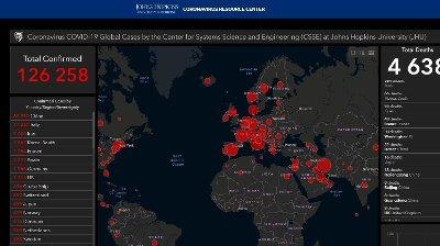 TELLER DØDE OG SMITTEDE: Det anerkjente universitetssykehuset Johns Hopkins i Baltimore kartlegger koronatilfeller verden over fra dag til dag.