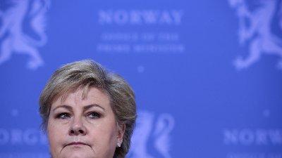 Oslo 20200313. Statsminister Erna Solberg legger fram tiltakspakke i forbindelse med koronaviruset.