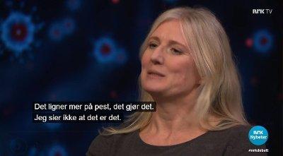 Forsker Gunhild Alvik Nyborg sa at koronaviruset ligner mer på en pest enn en influensa på Debatten tirsdag kveld.