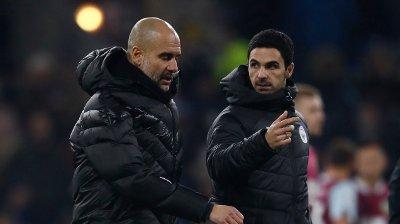 TIDLIGERE KOLLEGAER: Mikel Arteta var assistent under Pep Guardiola i Manchester City. Nå er han hovedtrener i Arsenal.