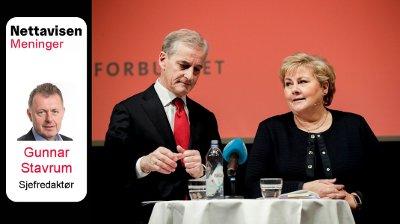 Vignett Nett på sak Jonas Gahr Støre og Erna Solberg